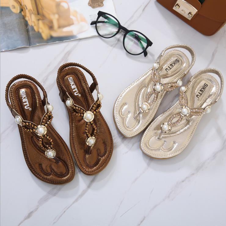0477f316466561 Rhinestone pearl flat sandals
